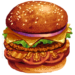 Autors: Walking Bad-Luck; Petr Gulin; Keywords: burger, pixel art, food, fastfood, recipe, gulinfood, petr gulin. All rights reserved © GulinFood.ru;